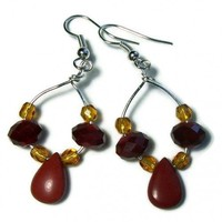 Earrings Red Jasper Small Hoop Swarovski Crystal Beads Czech Glass | kathisewnsew - Jewelry on ArtFire