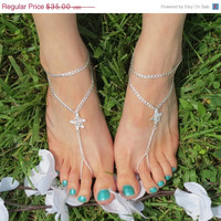 Sized Pair Starfish Barefoot Sandals, Foot Chain, Ankle bracelet, Barefoot Sandles, Nautical,  Beach Jewelry, Beach Accessories, Sized