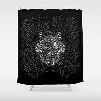 Black And White Tiger Shower Curtain by Ornaart