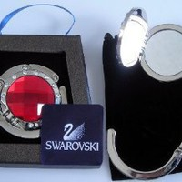 1 Red & 12 small clear Swarovski Crystal, FOLDING Purse Hook with MIRROR inside top, Black Velvet Pouch and Gift Box