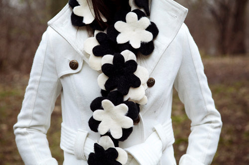 $25.00 Flower scarf in classy Black and White by BglorifiedBoutique