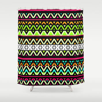 Neon Mix Shower Curtain by Ornaart
