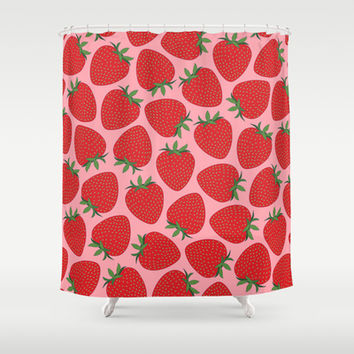 Strawberries Shower Curtain by Ornaart