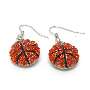 Crystal 'Bling' Dangle Basketball Hook Earrings