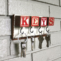 $32.00 Red Block Key Rack by bluebirdheaven on Etsy