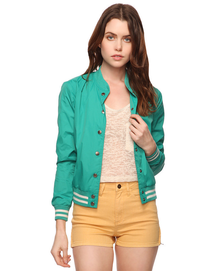 Ribbed Trim Varsity Jacket