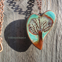Tree Necklace, Nature in your heart, Bohemian Summer Ceramic Necklace, Turquoise, Green and Copper, Rustic style Pendant on Chain