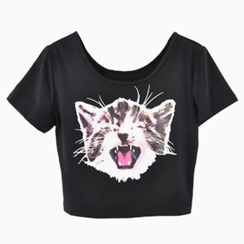 Black Crop Top with Cat Printed - Choies.com