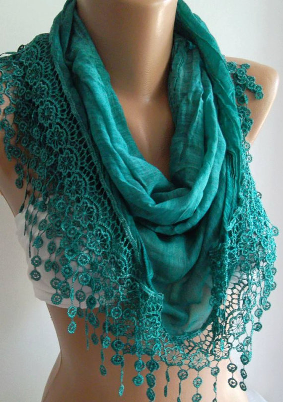 Turquoise Elegance Shawl / Scarf with Lacy Edgesoft by womann