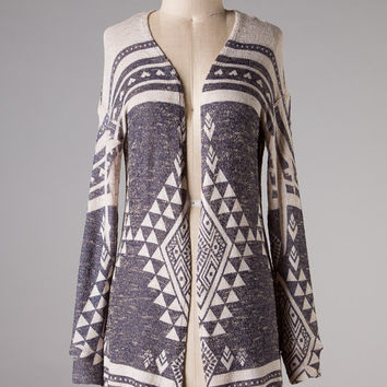 Beige Aztec and Hearts Cardigan (Medium)