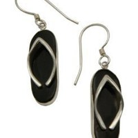 Sterling Silver with Black Onyx Flip Flop (Sandals) Design Cool Summer Theme Earrings