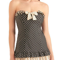 Betsey Johnson Comic Strip Sweetheart One Piece in Black | Mod Retro Vintage Bathing Suits | ModCloth.com