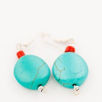 beaded short earrings lovely blue turquoise howlit by DevikaBox