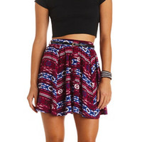 BUTTON-UP TRIBAL PRINT BELTED SKATER SKIRT