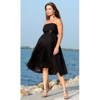 Nicole Maternity Womens Black Knee Length Formal Dress Gown S-3XL