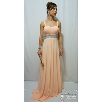 NATALIA | Sweetheart Strapless Peach Evening Gown