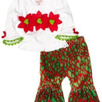 Mud Pie Baby-girls Infant Leopard Poinsettia 2 Piece Pant Set