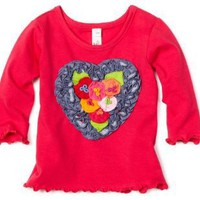 Love U Lots Baby-Girls Infant Heart With Flowers Ruffle Tee