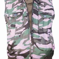 Walls Girl's Bandera Reversible Vest Pink Camo / Coffee