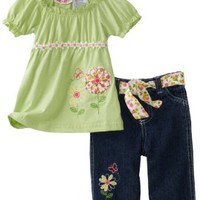 Young Hearts Baby-Girls Infant Knit Top With Denim Capri Pant Set