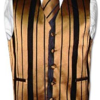 Men`s Dress Vest &amp; NeckTie Gold &amp; Black Woven Stripe Design Set for Suit or Tuxedo