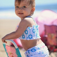 RuffleButts Baby Girl Aqua Blue Bloom Polka Dot Ruffled Bikini
