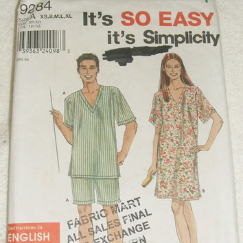 Simplicity Sewing Pattern 9284 Uncut Misses Mens Teens Sleepwear Nightgown Pajama Tops and Bottoms Size XS to XL DIY Clothing Design