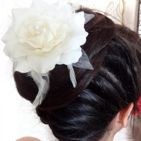 Wedding Hair Accessories,Ivory Flower Wedding Hair Pins, Ivory Bridal Hair Pins, , Organza Hair Pins, Bridesmaid Hair, Woodland - Set of 4
