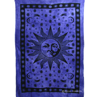 Twin Size Blue Bright Sun Indian Hippie Tie Dye Dorm Decor Tapestry Wall Hanging