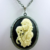 Gothic Cameo Day of the Dead Woman Holding Skull on Silver-Finished Locket
