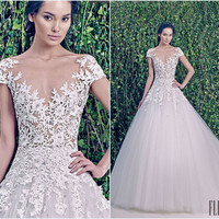 Alibaba.com - Wholesale 2014 Fashion Zuhair Murad Cap Sleeve Appliques Lace Wedding Dress For Sale