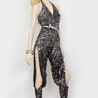 """David Dalrymple for House of Field Sequin """"B"""" Halter Jumpsuit 