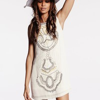 Free People Womens All in a Row Beaded Shift Dress - Ivory