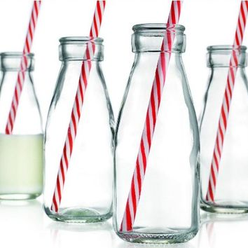 Set of Four (4) Clear Glass Old Fashioned Milk Bottles 6.75-oz ~ 4-pack Drink Cups with Red Striped…