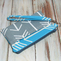 Arrow Style Wristlet - Teal Wristlet - Gray Arrow Wristlet - School Wristlet - iPhone Wristlet - Cell Phone Wallet - Wristlet Clutch