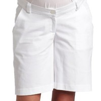Maternal America Women's Maternity City Knee-Length Shorts, White, X-Large