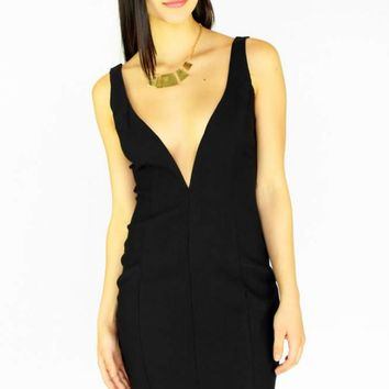 Black Deep V Sleeveless Mini Dress