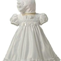 New Satin & Pearl Christening Baptism Dress Gown & Bonnet