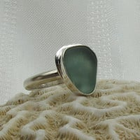 Sea Glass Ring  Beach Glass Jewelry  Seaglass  Teal  by StoneNest