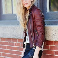 Doma Womens Scarlet Note Leather Biker Jacket - Wine