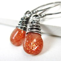 Sunstone Earrings Sterling Silver Fire Orange Genuine Gemstone Jewelry