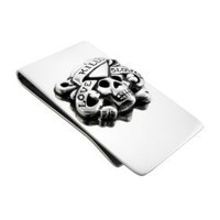 Ed Hardy `Love Kills Slowly` Stainless Steel Money Clip