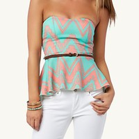Belted Tribal Chevron Peplum Tube Top