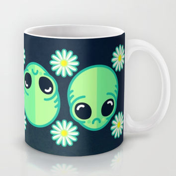 Sad Alien and Daisy Nineties Grunge Pattern Mug by Chobopop
