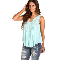Sale-light Blue Crochet Peasant Top