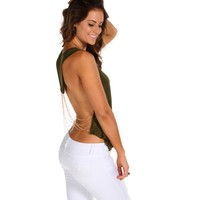 Sale-olive Draped Chain Back Top