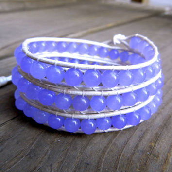 Beaded Leather Wrap Bracelet 3 Wrap with Lilac Amethyst Purple Gemstone Beads on Pearl White Leather Spring Summer Collection