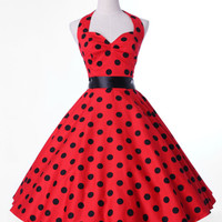 Polka dots Swing 1950s pinup Vintage Rockabilly Retro Bandage halter Dress S-XL