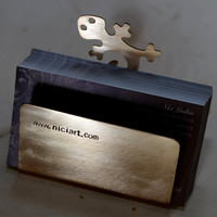 Custom and personalized business card holders in bronze brass copper aluminum and sterling silver