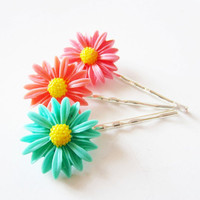 Daisy flower peach coral mint green hairpins by LittleBearsMom